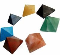 Set of 7 Chakra Pyramid Stone Lot Crystal Healing wicca NATURAL spirituality *AN