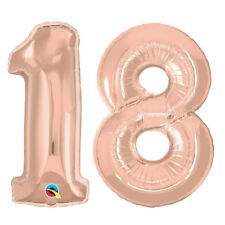 """18th BIRTHDAY PARTY SUPPLIES BALLOON 34"""" *NEW* ROSE GOLD NUMBER 18 FOIL BALLOONS"""