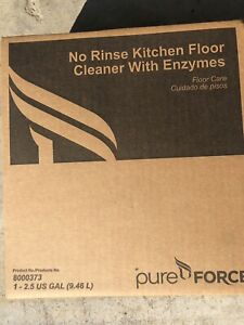 Pure Force 8000373 No Rinse Kitchen Floor Cleaner with Enzymes (1) 2.5 Gal. New!