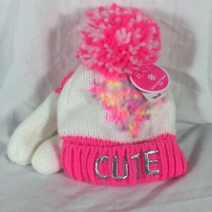 The Children's Place Hat and Mitten Set Cute Pink theme Size XS 6-12 Months New