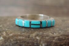 Zuni Indian Sterling Silver Turquoise Inlay Ring - Signed - Size 6 1/2