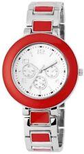 Damenuhr Silber Rot Chrono-Look Arabische Ziffern Armbanduhr X-RP4682500012