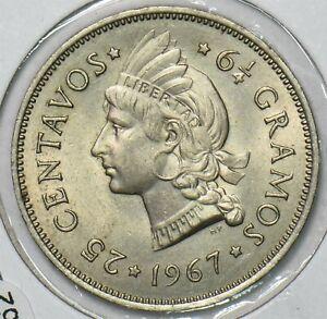 Dominican Republic 1967 25 Centavos BU 297562 combine