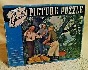 FISHING PUZZLE VINTAGE COMPLETE GUILD WHITMAN 2900 SER MM 304 PC FISHING IS FUN.