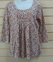 LADIES TOP BROWN / SPICE SIZE 10 KALEIDOSCOPE ABSTRACT PRINT TUNIC BNWT (G017