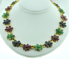14k Solid Yellow gold Natural Ruby Emerald Sapphire necklace 41.88 ct Floral