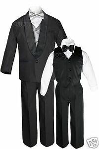 Boys Satin Shawl Lapel Suits Tuxedos EXTRA Silver Bow Tie Vest Sets Outfits S-18