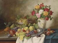 "Dream-art Oil painting still life fruits grape apple pear peach roses canvas 36"""