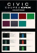 Honda Civic Coupe & CRX Colour & Trim 1994 UK Market Leaflet Brochure