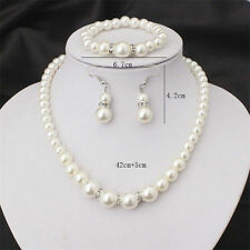 Fashion Crystal Jewelry Sets Gold Silver Plated Bead Necklace Earring Bracelet