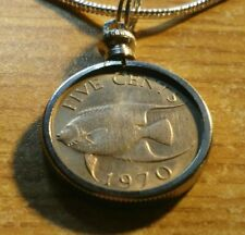 """1970 Bermuda Angel Fish Coin Charm on an 18KGF 24"""" White Gold Filled Round Chain"""