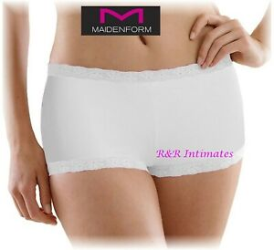 Maidenform Lace Trimmed Boyshorts, #40760, White, Size Small