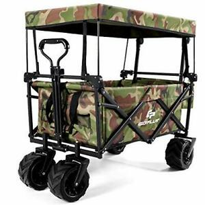 Collapsible Folding Wagon Cart Outdoor Utility Garden Beach Trolley with Canopy