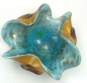 Vintage Murano Art Glass Bowl Hand Blown w/Gold Flakes