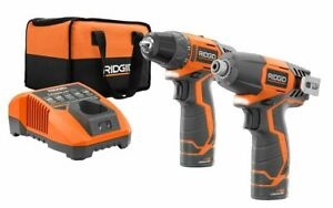 Ridgid 12V Drill/Driver + Impact Driver Kit + 2 Batteries + Charger - Brand New