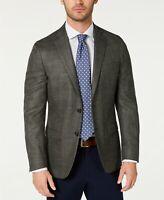 $375 Lauren Ralph Lauren Silk Linen Olive Stretch Windowpane Sport Coat 40S NEW