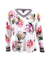 INC International Concepts Women's Varsity Sweater (M, Bright White)