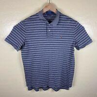 Polo Ralph Lauren Pima Soft Shirt Mens Large Gray Blue Striped Short Sleeve