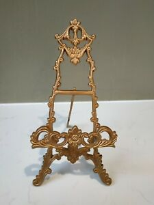 Small Ornate Brass Easel Picture Plate Book Display Stand