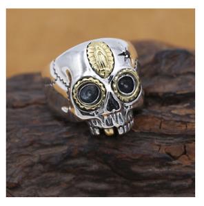 Sugar Skull Ring - 925 Sterling Silver - Dia De La Muerte - Biker Jewelry USA