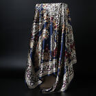 Women's Blue Paisley Print Hijab Scarfs Silky-Satin Square Headscarves 35