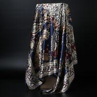 "Women's Blue Paisley Print Hijab Scarfs Silky-Satin Square Headscarves 35""*35"""