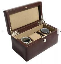 Dulwich Designs Windsor Leather 3 Piece Watch Box, Brown