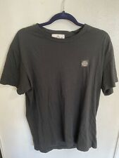 MEN STONE ISLAND BLACK TEE SHIRT TOP LOGO L