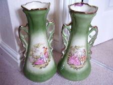 Porcelana De Limoges tipo, Staffordshire Gran Florero, manejado, Conjunto de 2 Jarrones