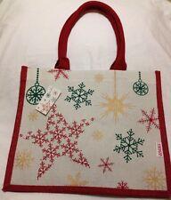 Tesco Christmas Jute Tote Bag 2014 Red Green Gold Eco Reuse Flake New