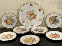 """Lot Jaeger  Bavaria 12""""Round  Platter / 9 Plates  Mixed Fruit And Nuts Gold"""