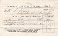 GLASGOW CORPORATION GAS OFFICE,1881 Mr Wm. Dixon Gas Consumed Invoice Ref 48978