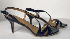 Women Calvin Klein Loren Patent Leather Sandals Heels Shoes 9M Navy Blue Buckle
