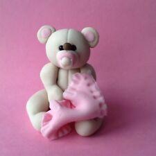 Edible Baby Girl Teddy Bear, Birthday, Christening, Baby Shower Cake Topper