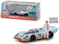 Greenlight 1:43 Gulf Porsche 917K with Steve McQueen Figure Diecast Model 86435