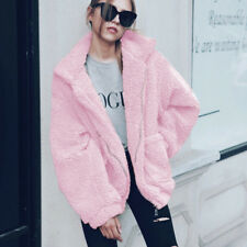 Womens Winter Teddy Bear Pocket Fluffy Coat Fleece Fur Jackets Outerwear Hoodies