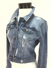 GUESS BRITTNEY Classic Cropped Jacket Blue Denim DISTRESSED Women's S NWT $98