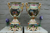 Antique french vieux paris porcelain 19thc hand paint Vases attr jacob petit