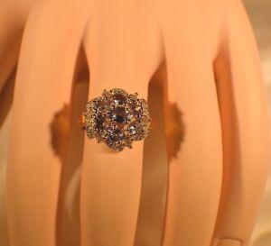 GLAMOROUS 2.44ct. NATURAL TANZANITE & GENUINE 1/4ct. DIAMOND COCKTAIL RING