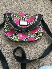 BETSEY JOHNSON Mini Crossbody Purse Roses & Leopard Gold Accents Bag
