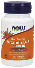 NOW Foods Vitamin D-3 5000 IU 120 Softgels Supports Bones & Teeth