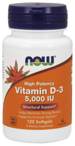 NOW Foods Vitamin D-3 5000 IU 120 Softgels Supports Bones & Teeth 05/22EXP
