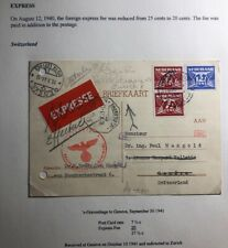 1941 The Hague Netherlands Censored Postcard Express Cover To Geneva Switzerland