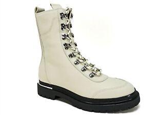 Via Spiga Women's Tavvi Hiker Boots Milk White Leather Size 7 M