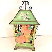 Vintage Green Metal Tea Light Lantern Hanging or Table Top Spring/Fall