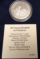 Raro 2001 Uganda la reina Isabel II 75th Cumpleaños 2000 Chelín moneda de plata .925