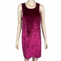 SPORTSGIRL Women's Size Large Fuscia Sleeveless Velvet Knee Length Shift Dress