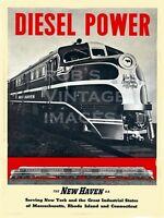 New York Hartford New Haven Railroad Photo Poster train DL-109 Locomotive Diesel