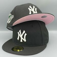 New York Yankees 1996 World Series New Era 59FIFTY Fitted Black Hat Pink Bottom