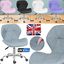 HOMEEZZE®Adjustable Swivel Lift Office Chair Fabric Computer Desk Chrome Legs UK
